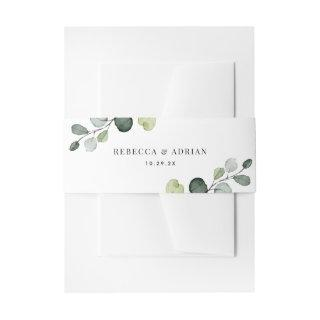 Personalized Names Eucalyptus Greenery Wedding Invitations Belly Band