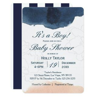 Personalized Navy and Blush Baby Shower Invitation