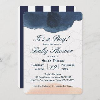 Personalized Navy and Blush Baby Shower Invitations