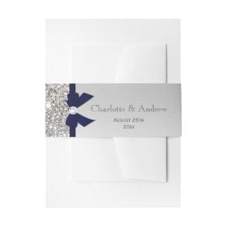 Personalized Navy Bow & Diamonds Wedding Invitations Belly Band