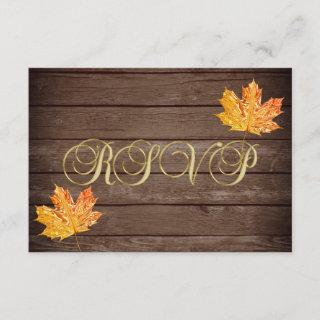 Personalized Rustic Wood Country Fall RSVP Wedding Invitations