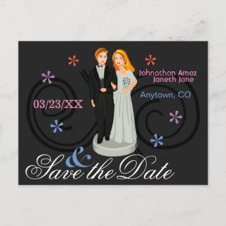 Personalized Save the Date Cake Topper Announcement Postcard