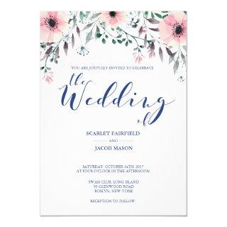 Personalized Watercolor Floral Wedding Invitation