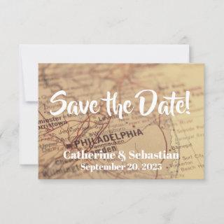 Philadelphia, PA Vintage Map Save The Date