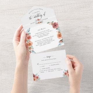 Photo, Blissful Floral Wedding w/ Perforated RSVP All In One