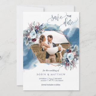 Photo Collage,  Blue, Purple, Burgundy Watercolor Save The Date
