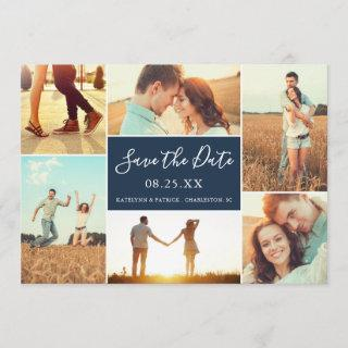 Photo Collage Save the Date Flat Card | Navy Blue