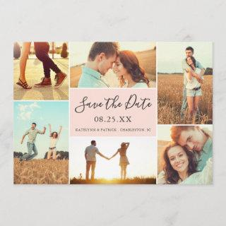 Photo Collage Save the Date Flat Card | Peach
