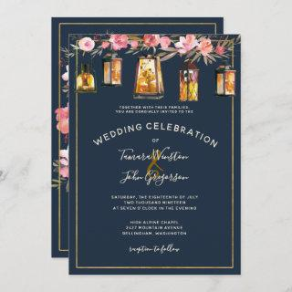 Photo Elegant Blue Coral Floral Lights Wedding Invitation