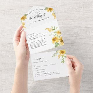 Photo, Elegant Yellow Floral Wedding Tear Off RSVP All In One Invitations
