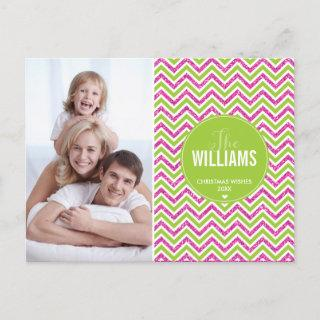PHOTO HOLIDAY CARD chevron glitter pink lime green