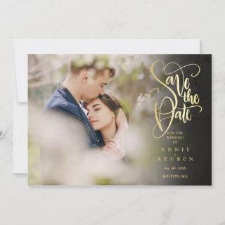 Photo Modern Save the Date Elegant Gold Script