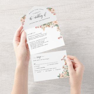 Photo, Peach Coral Botanical Wedding Tear Off RSVP All In One