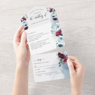 Photo, Red and Blue Wedding with Perforated RSVP All In One Invitation