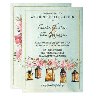 Photo Rose Gold Lanterns Watercolor Floral Wedding Invitations