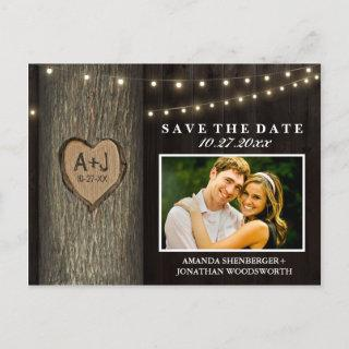 Photo Rustic Carved Oak Tree Save The Date Cards