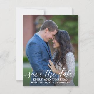 Photo Save the Date Card Modern Calligraphy Script