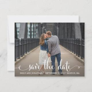 Photo Save the Date Cards Landscape, Rustic Script