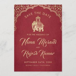 Photo Save The Date, Indian Wedding, Blue and Gold Save The Date
