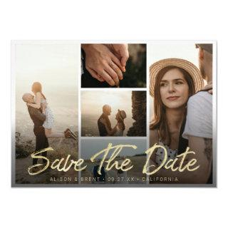 Photo Save the Date Modern Gold Script Typography Magnetic Invitation