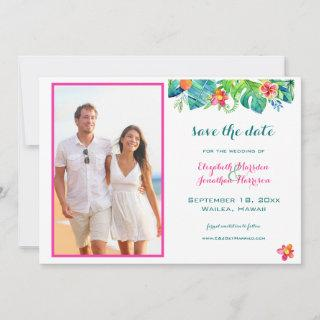 Photo Tropical Beach Berry Pink Teal Blue Floral Save The Date