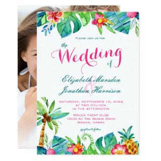Photo Tropical Beach Pink Teal Floral Wedding Invitations