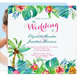 Photo Tropical Beach Wedding Pink Teal Floral Invitation