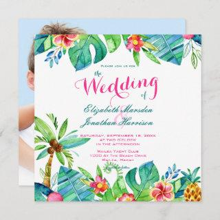 Photo Tropical Beach Wedding Pink Teal Floral Invitations