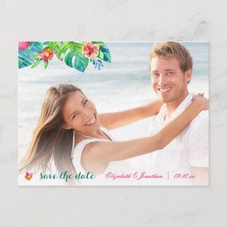 Photo Tropical Berry Pink Teal Floral Announcement Postcard