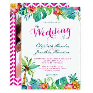 Photo Tropical Berry Pink Teal Floral Wedding Invitation