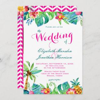 Photo Tropical Berry Pink Teal Floral Wedding