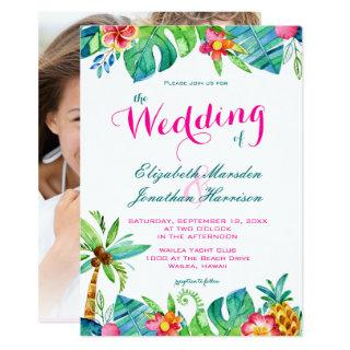 Photo Tropical Pink Teal Floral Chevron Wedding Invitation
