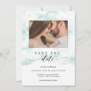 Photo, Watercolor Blue, Turquoise and Green Save The Date
