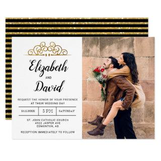 photocard gold elegant glitter ornamental wedding invitation