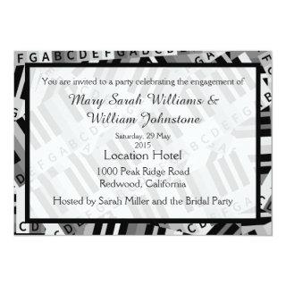 Piano Engagement Party Black and White invitation