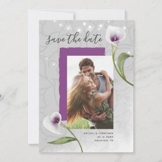 Picasso Calla Lily Photo Save the Date Invitations