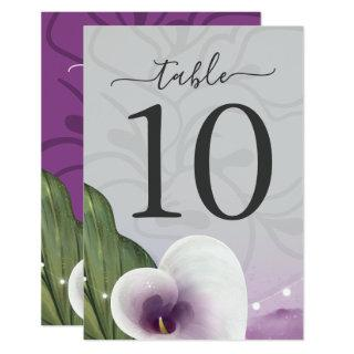 Picasso Calla Lily Wedding Table Number Cards