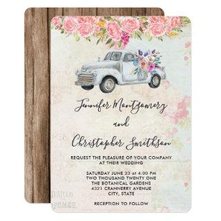 Pickup Truck and Flowers Rustic Watercolor Wedding Invitation