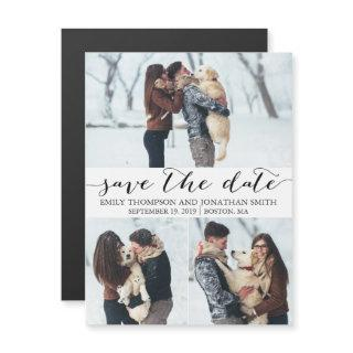 Picture Wedding Save The Date Magnet, Three Photos Magnetic Invitations