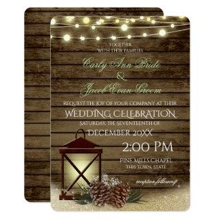 Pine Cones and Lantern Rustic Barnwood Lights Invitations