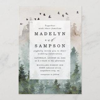 Pine Tree Forest Rustic Watercolor Themed Wedding Invitations