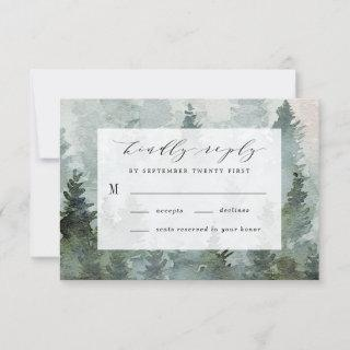 Pine Tree Forest Rustic Watercolor Themed Wedding RSVP Card