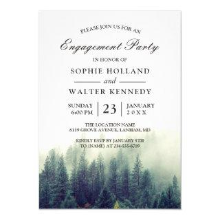 Pine Tree Forest Wedding Shower Engagement Party Invitations