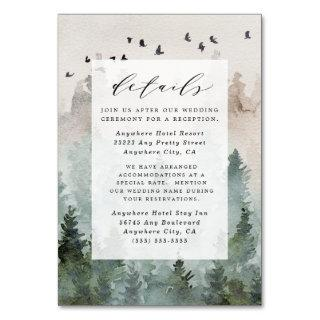 Pine Tree Rustic Watercolor Wedding Enclosure Card