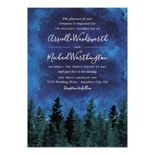 Pine Trees Watercolor Rustic Wedding Invitations