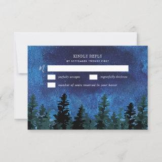 Pine Trees Watercolor Rustic Wedding RSVP Cards