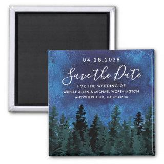 Pine Trees Watercolor Rustic Wedding Save the Date Magnet