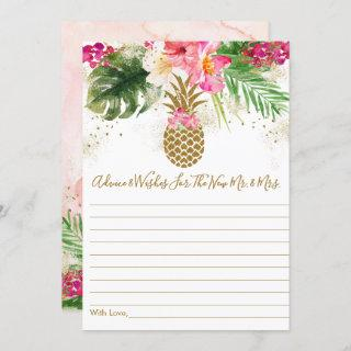 Pineapple Floral Bridal Shower Advice Cards