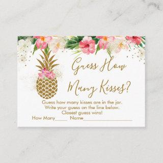 Pineapple Floral Guess How Many Kisses Bridal Game Enclosure Card