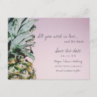 Pineapple Love and the Beach Wedding Save the Date Announcement Postcard